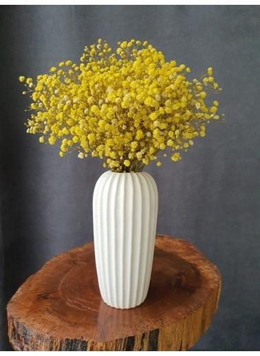 Kuru Çiçek Deposu Kuru Çiçek Şoklanmış Cipso Mavi 45 Cm Sarı
